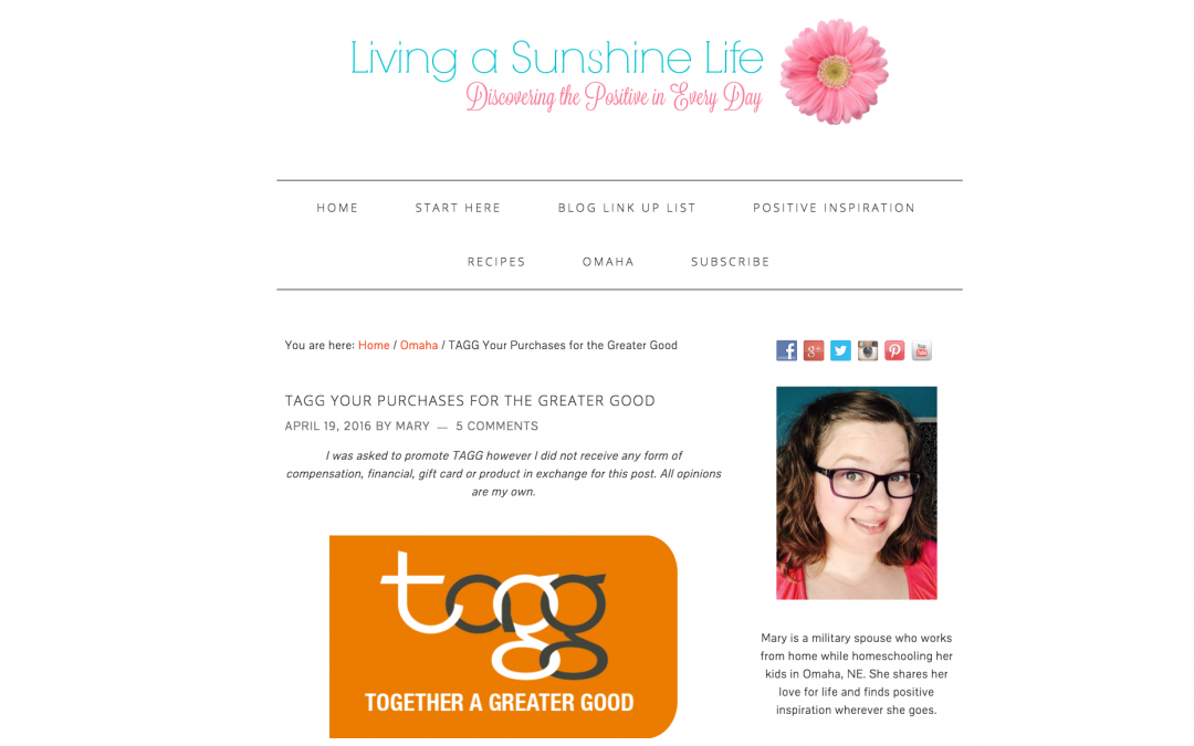 TAGG is featured on Living a Sunshine Life blog
